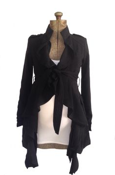 Samantha Ruffle Coat.  A super cute maternity friendly black coat with ruffles.  Heritwine Maternity.  $56.99