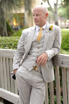 Yellow + grey groom attire (J. Crew)