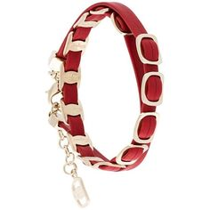 Salvatore Ferragamo link wrap bracelet (8.335 RUB) ❤ liked on Polyvore featuring jewelry, bracelets, red, red jewelry, red bangles, leather jewelry, leather bangle and salvatore ferragamo