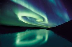The Northern Lights, swirling.