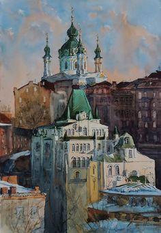 Sergiy Lysyy Киев Community, Urban, Watercolor, Architecture, World, Illustration, Painting, Russia, Art