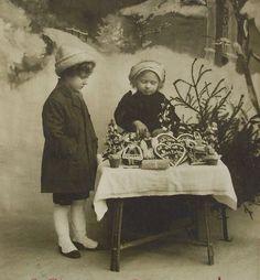 Antique Christmas Postcard from Austria - Little Girls & Christmas Market Stall