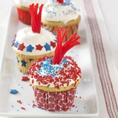 Firecracker cupcakes- so fun and the kids would love these!