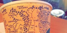 Detailed Map of Middle Earth on a Coffee Cup