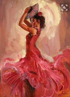 Mark Spain - Flamenco Passion IV - In love with this Spanish Dancer, Spanish Art, Spanish Woman, Woman Painting, Painting & Drawing, Dancer Drawing, Creation Art, Dance Paintings, Beautiful Paintings