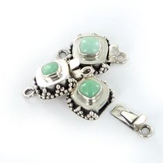 VARISCITE CLASP STERLING CUSHION 6mm from New World Gems