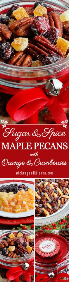 Sugar and Spice Maple Pecans with Candied Orange & Cranberries ~ Quick and easy, salty-spicy-sticky-crunchy-sweet irresistible! The perfect and impressive holiday gift from the kitchen, cocktail nibble or movie night party snack. Bakes up in just 15 minutes! #Christmas recipe