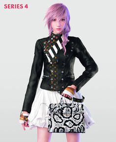 Final Fantasy legend, Lightning, dresses up in a Louis Vuitton monogram detailed leather jacket for the Series 4 campaign.