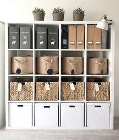 65 Trendy Home Office Organization Organizing Ikea Home Office Shelves, Home Office Organization, Home Office Space, Home Office Design, Home Office Furniture, Home Office Decor, Home Decor, Organization Ideas, Office Ideas
