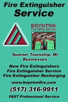 Fire Extinguisher Service Sumner Township, MI (517)  316-9911) Call the Experts at Boynton Fire Safety Service.. We are the complete source for Fire Extinguisher Service for Local Michigan Businesses We would love to hear from you.. Call us Today!