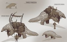 Pangolin mount I designed a month ago in an african style Alien Creatures, Fantasy Creatures, Mythical Creatures, Creature Drawings, Animal Drawings, Creature Feature, Creature Design, Historia Natural, Fantasy Beasts