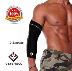 GATEWELL Turbo Series Arm Sleeves 1 Pair Compression For Sports Fitness Muscle Soreness Arthritis Joint Pain Faster Recovery100 SATISFACTION GUARANTEE BLACK  L -- You can get more details by clicking on the image.Note:It is affiliate link to Amazon.
