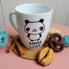 Coffee mug // Love panda // kawaii mug coffee by HandwrittenMugs