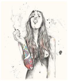 Image of Smoking | 48cm x 58cm