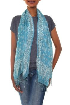 Silk batik scarf, 'Kupu Kinjeng'