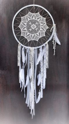Dream catcher wall hanging,Bohemian dream catcher,Large dreamcatcher,Boho home decor,Crochet doilies,Dream catcher art,Dream catcher boho