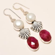 Daily Deals 925 Silver Design Rubellite With Pearl Gemstone Earrings Jewelry Set #Handmade #DropDangleEarringsTops