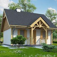 Niewielki dom z werandą i dachem dwuspadowym...