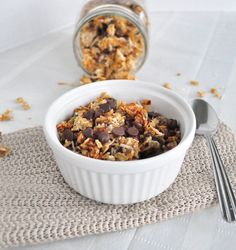Almond Joy Granola.   The sweetness of oats, coconut and bits of chocolate make this a yummy treat.