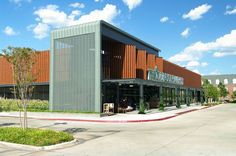 Whole Foods Market, Oklahoma City, OK, Façade, Double Lock Standing Seam Solid & Perforated Panels, RHEINZINK prePATINA Graphite Gray Zinc: