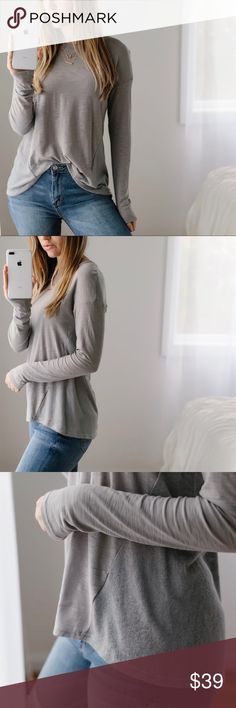 """🆕My Favorite LS Vol.5 My (and now my buyers!) Favorite LS in a new style!  Gray slub material with soft knit contrasting back -- I LOVE this look. Soft, comfortable and flattering. High quality and well made, comparable to designer shirts.  ▫️Material: Modal and Cotton ▫️Fit: Casual ▫️Chest across: XS 18"""", S 18.5"""", M 19"""", L 19.5"""" ▫️I am modeling S ▫️New  Price is firm, 10% off bundles of 3+  📷Photos are my own 11thstreet Tops Tees - Long Sleeve"""