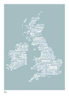 Buy London and beyond Type Map in Duck Egg Blue by Bold & Noble now. UK, EU and Worldwide guaranteed delivery. Highest quality prints with handcrafted framing o Ireland Map, Duck Egg Blue, Island Girl, Cartography, British Isles, Oh The Places You'll Go, Great Britain, Pond, Screen Printing