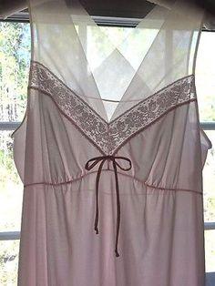 Vintage-Shadowline-Nightgown-Medium-Tall-Pale-Pink-Nylon-58-inch-long-V-Neckline