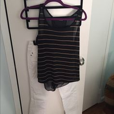 Black sheer tank top Black with pinkish/nude horizontal stripes sheer back and sort of flowy. Very cute with jeans or black pants. Slightly worn. Tops Tank Tops