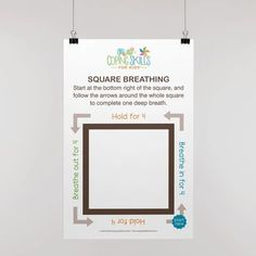 """Original Square Deep Breathing Poster 11"""" x 17"""" Anger Coping Skills, Coping Strategies For Stress, Coping With Stress, Dealing With Anger, How To Handle Stress, Deep Breathing Exercises, Deal With Anxiety, Breath In Breath Out"""