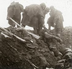 French soldiers retrieving bodies of their comrades fallen at Les Eparges, 1915. The offensive started in mid February and soldiers didnt have proper winter clothing. Most of soldiers had to rely on their family to receive gloves, scarves and socks. The army only distributed sheep skins making soldiers look like cavemen as you can see here.