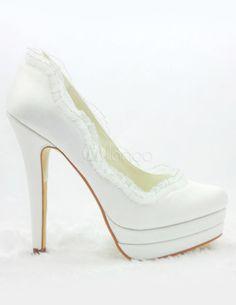 Zapatos blancos con plataforma para novias de satén - Milanoo.com