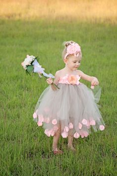 Grey and Pink rose petal flower girl dress FULLY LINED on Etsy, $70.00- concept of the flowers on the bottom of the tulle for a skirt portion of a dress...