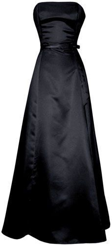 50's Strapless Satin Long Gown Bridesmaid Prom Dress Holiday Formal Junior Plus Size, 3X, Black