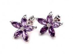 Barevné náušnice > Svatební naušnice Pretty flower- purple -