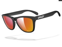 Oakley -Matte, ruby mirrored lens, with name etched on bottom right corner... egotistical? Kind of.... I'm ok with that.  http://www.oakley.com/custom/frogskins