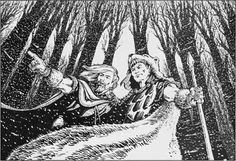 Snow elves endure the cold of their remote mountain lands. (Jamie Lombardo, Dragon No 155, TSR, March 1990.)