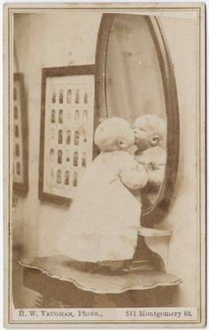 he looks like our Ashton! [carte de visite portrait of a baby standing kissing his reflection], Hector William Vaughn via the Yale Collection of Western Americana, Beinecke Rare Book and Manuscript Library, Carl Mautz Collection Vintage Children Photos, Vintage Pictures, Old Pictures, Vintage Images, Old Photos, Time Pictures, Antique Photos, Vintage Photographs, Old Photography