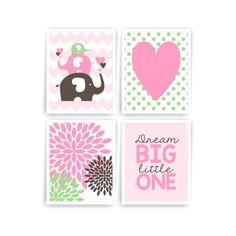 Printable DIY Girl Nursery Art Pink Green Brown Elephant