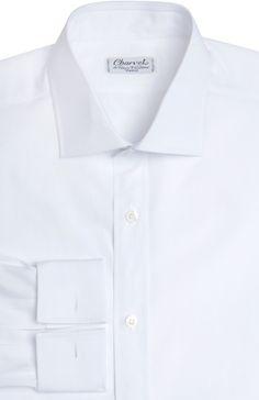 Мужская белая хлопковая сорочка с итальянским воротником и французскими манжетами  Charvet, сезон SS 2016, арт. 4.161072. 9000 купить в ЦУМ | Фото №1