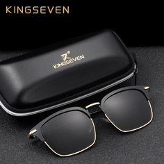 299d1bd9b56b30  FASHION  NEW KINGSEVEN DESIGN Men Polarized Square Sunglasses Unisex  Fashion Male Eyewear Aviation Aluminum