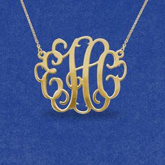 Gold monogram necklace monogrammed gifts by JewelryGiftsDesign, $33.99