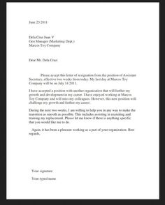 resignation letter sample 2 weeks
