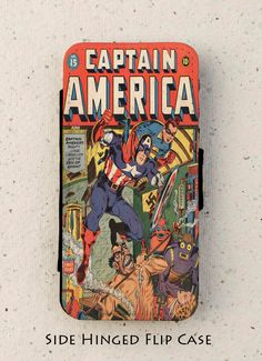 iphone 4, 5 or 6 - flip case - vintage - Captain America - Comic -  illustration - Galaxy S3, S4, S5, mini by OutFromTheShadows on Etsy https://www.etsy.com/listing/222562334/iphone-4-5-or-6-flip-case-vintage
