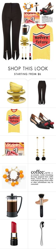 """Alert Trend: Coffee and the new split-front trend"" by hamaly ❤ liked on Polyvore featuring Topshop, Gucci, Balenciaga, WALL, Bodum, Arthur Price, outfit, ootd, pants and trends"