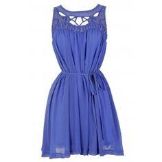 Cutout Chiffon Dress in Periwinkle