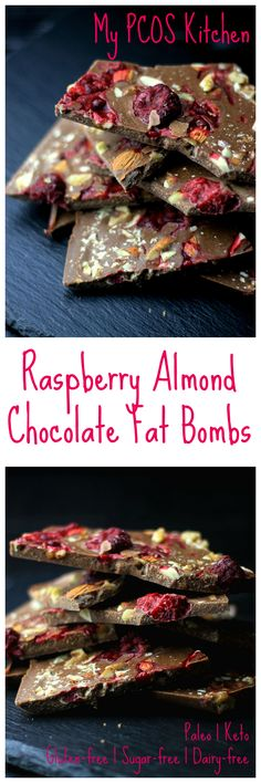My PCOS Kitchen - Super low carb, gluten-free, sugar-free, dairy-free paleo & keto raspberry almond chocolate fat bombs!