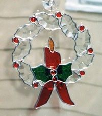 Wreath Christmas Wreaths Beveled Stained Glass by glassbypat