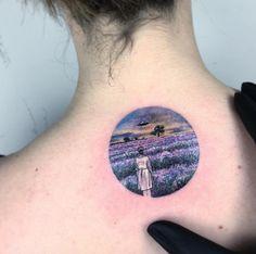 Circular landscape tattoo by Eva Krbdk Nifty idea 💡💭🗯 Circle Tattoos, Back Tattoos, Body Art Tattoos, 3d Tattoos, Future Tattoos, Tatoos, Creative Tattoos, Great Tattoos, Small Flower Tattoos