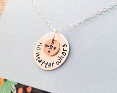 Best Friends Necklace, Going Away Gift, Sterling Silver Friends Jewelry, Long Distance, Mother Daughter Necklace, No Matter Where