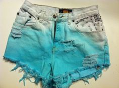 Turquoise Ombré Rhinestone High Waisted Shorts SIZE 3/4. $22.00, via Etsy.